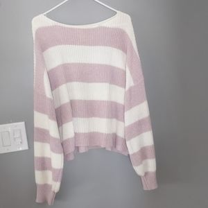 Striped lilac and ivory bubble sleeve sweater
